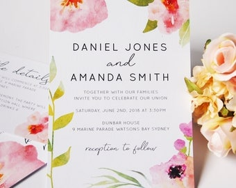 Pink Watercolour Floral Wedding Invitation Suite Sample