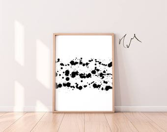 Instant Download, Modern Art Poster,,Minimalist , Scandinavian Printables, Black Paint, Living Room Decor, Black White , Abstract Art