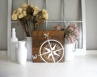 Compass Rustic Wooden Sign  |  Hand Lettered  |  Home Decor  |  Gift Idea  |  Farmhouse Style
