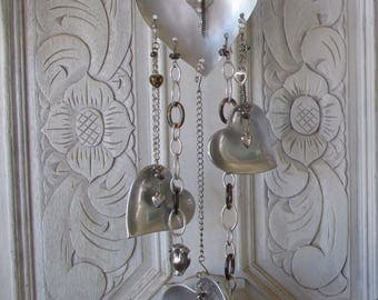 Hearts, Wind chime, Mobile, Upcycled, Silver, Hearts, Chain, UpcycledKreations