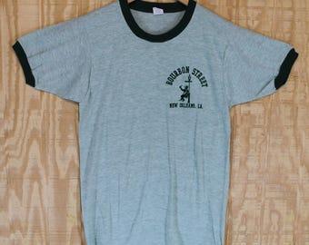 Vintage 1970's Bourbon Street New Orleans Louisiana Flocked Ringer Diamond G T Shirt T-shirt Tee Small Medium S / M