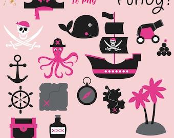 Pirates girls, pirate girl clipart, pirates clip art, baby shower graphics, newborn baby decor, digital paper, sailing ship, cute whale, pi