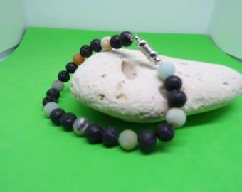Amazonite and lava stone bracelet