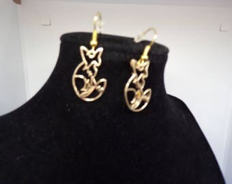 Earrings with pendant of origami Fox