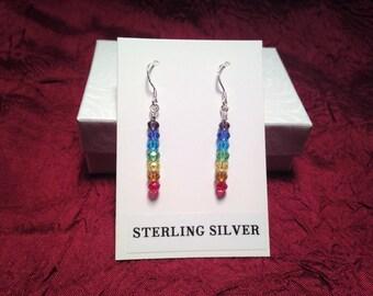 Sterling Silver Earrings in a Rainbow Chakra Design