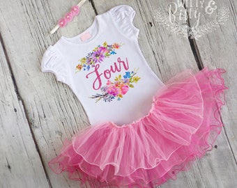 Glitter Fourth Birthday Outfit, 4th Birthday Outfit, Pink Glitter Outfit, Pink Tutu Birthday Outfit, Birthday Tutu Set - O409F