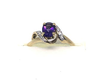9ct Gold & Amethyst Vintage Lovely Ring - Size R - Hallmark Shown