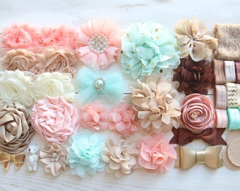 Peach Baby Shower Headband Kit - DIY Peach Headband Making Kit - DIY Ivory Headbands Baby - Makes 20 Baby Headbands - Bow Headband Baby