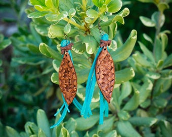 Lesley Tooled Earrings with Turquoise Fringe | Leather Earrings | Birthday Gift | Anniversary | Gifts under 25 | Handmade | Gifts for Her