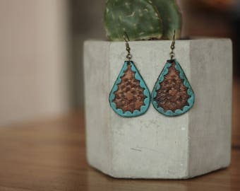 Leighton Turquoise Tooled Earrings | Leather Earrings | Birthday Gift | Anniversary | Gifts under 25 | Handmade | Gifts for Her