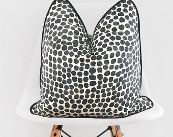 Black and Off White Polka Dot Pillow Cover / Decorative Black Throw Pillow / White Black Pillow Cover / Pillow with Piping
