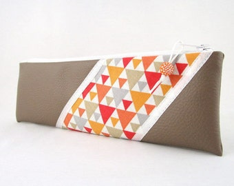 Mini kit in leather taupe and fabric patterns triangles