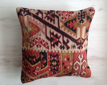 Pillow Cover, Turkish Kilim Pillowcase, Woolen Pillowcase, Handwoven Pillowcase, 40 x 40 cm/ 16 x 16 inches,