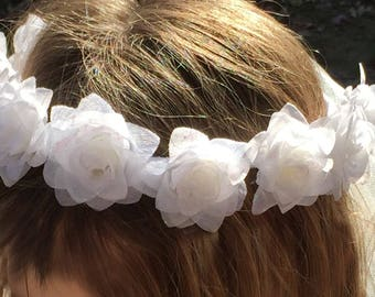 First Communion Wreath Floral Hair Headpiece Veil