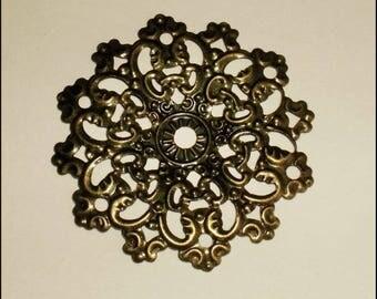 """5 connectors filigree """"Flower"""" 4.7 x 4.7 cm Metal Bronze"""