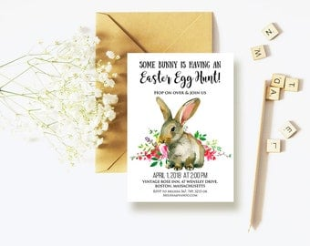 Easter Bunny Rabbit Invitation Editable PDF Easter Egg Hunt Brunch Invitations Easter Party Invitations Spring Floral Watercolor Invites DIY