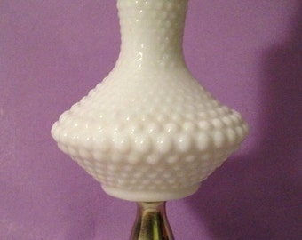Vintage Milk Glass Hobnail Lamp with Marble Base- 15 inches high