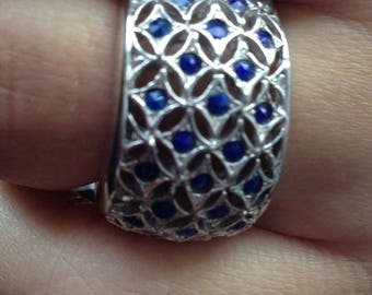 Vintage sterling silver and sapphires ring