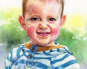 Portrait Personnalisé Enfant Aquarelle sur Commande