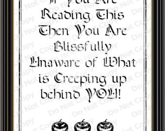 Printable Halloween Sign, Halloween decor, Halloween Party, Kids Halloween Decoration, Creepy Halloween Sign, Trick or Treat Sign