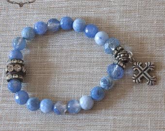Mothers Day Gift , Blue Boho Chic Bracelet, Cross Bracelet,   Agate Bracelet, Bohemian bracelet, Sky Blue Bracelet,  by VintageRoseGallery