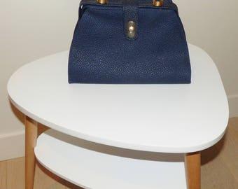 Fun Vintage 1960's handbag, Navy zipper, leather handle