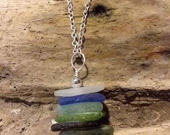 Genuine Sea Glass sterling silver stacked necklace