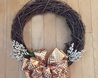 Grapevine Wreath with Large Bow and White Blossoms//Twig Wreath//Fall Wreath//Front Door Wreath