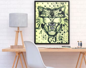 ALI - Gucci Double G Beast tennis yellow poster print perfect to decor your wardrobe room or home (MEGA Limited Edition)