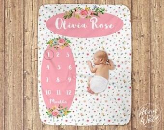 Baby Milestone Blanket, Baby Girl Gift, Baby Month Blanket, Name Blanket, Milestone Blanket Girl, Baby Girls Blanket, Floral Blanket, Pink