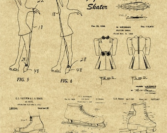 Figure Skating, Winter Olympics Poster, Ice Skating Poster, Vintage Patent Blueprints, Patent, Figure Skating Dress, Figure Skating Print