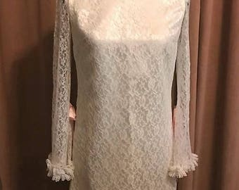 Vintage Late 60's Hand Made Lace Mini Dress
