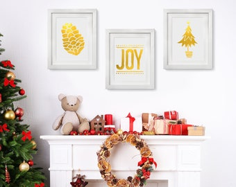 Real Foil, Gold Foil, Pine Cone, Joy, Christmas Tree, Holiday Decoration, Actual Foil Print, Holiday Wallart, Ornaments, Set of 3, gold room