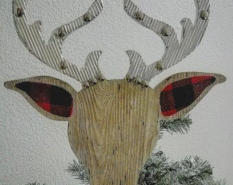 Wood and metal,tree topper,bedspring tree topper,Christmas,Christmas Tree, Deer decor,Buffalo check,plaid,metal,antlers,Xmas decor,deer head