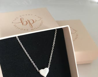Solid Heart Silver Necklace/Bridal Jewellery /Wedding Necklace/Wedding Accessories/Silver Heart Charm Necklace/Bridesmaid Gift Accessories
