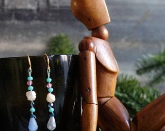 Gemstone Earrings-pearls-minimal-pearl earrings-crystals-Birthday gift-Handmade earrings-Made in Italy