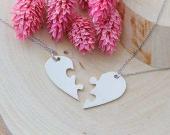 Puzzle Heart Necklace, Custom Necklace, Couple Necklace, Love Necklace, Family Necklace, Heart Necklace, Silver Necklace, Gold, Rose, Gift