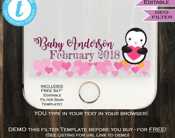 Valentine's Baby Shower Snapchat Geofilter Baby Girl Penguin Hearts Baby Shower Party Filter Love Personalize Custom INSTANT Self Editable