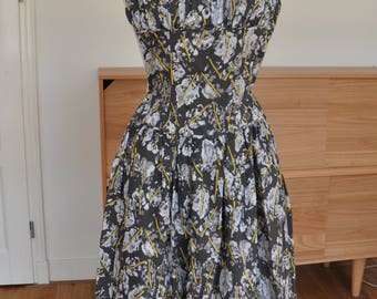 "Abstract Novelty Print 1950s Cotton Dropwaist Halter Dress by ""Kabro of Houston"" XS"
