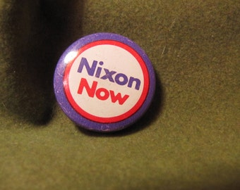 "Vintage Political Campaign Button made by Coadco Rare Purple, Red, & White ""Nixon Now"" 1 inch made in 1968"