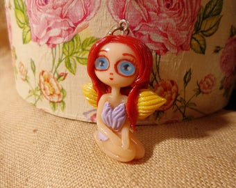 Clay Fairy necklace, Clay Fairy Charm, Cute Clay Fairy, Kawaii Fairies, Cute Fairy jewelry, Cute Fairy Figurine, Fairy Doll, Kawaii Doll