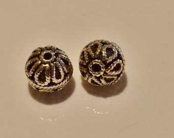 Bali Sterling Silver Ornate large bead pair 10x11mm  2 pieces