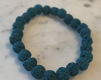 Teal lava stone diffuser bracelet
