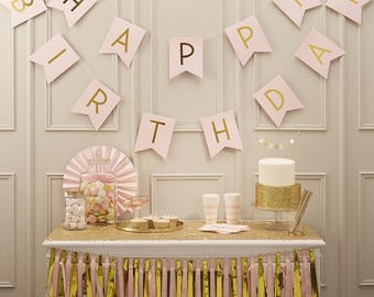 Party Decorations /Happy Birthday ,pink Bunting, Girls Birthday Decor, Girls Party Decor, Pink Birthday Banner, Pink Party Decor
