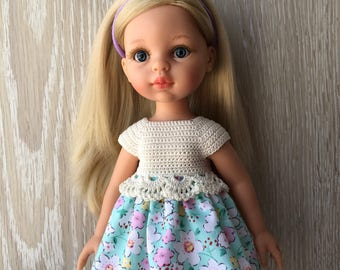 Clothes for Corolle Les Cheries, Paola Reina Doll Dress,  Turquoise and various flowers Crochet Doll Dress