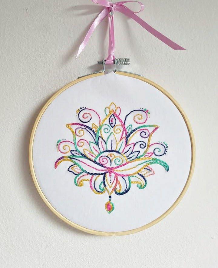 Mandala LotusLotus Hand EmbroideryLotus DesignBuddhist LotusMandala Embroidered