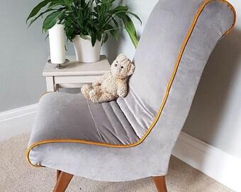 Newly upholstered mid century, grey velvet, bedroom chair