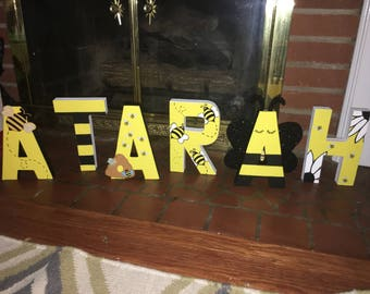 Honey Bee Themed Hand Painted Paper Mache Block Letters