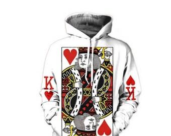 Poker sweatshirt poker hoodie king hoodie king hearts