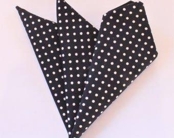 Hankie Pocket Square Handkerchief NAVY Blue POLKA DOT.Premium CottonUK Made